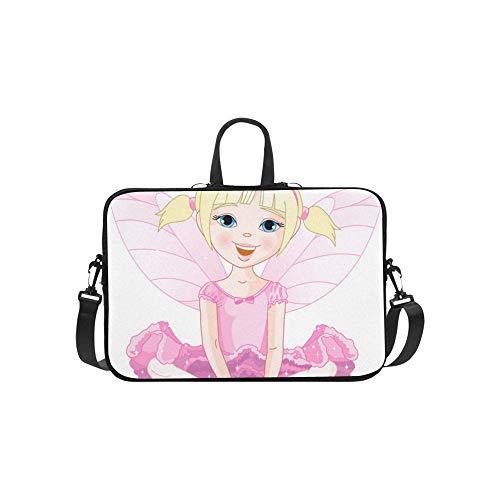 Nettes kleines Mädchen mit Schmetterlingsflügel-Muster-Aktenkoffer-Laptoptasche-Kurier-Schulter-Arbeitstasche Crossbody-Handtasche für das ()
