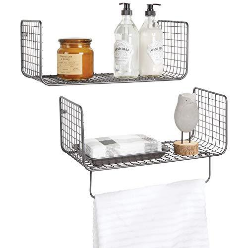 Mdesign set da 2 mensole bagno – mensola portasciugamani bagno in metallo – mensole design anche per garage, cucina o lavanderia – grigio