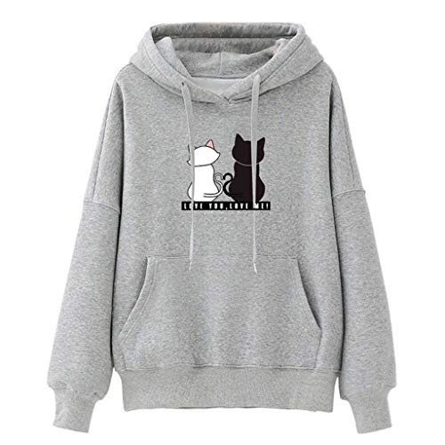 Xmiral Women Kapuzenpullover Sweatshirt Winter Ladies Baggy Cat Jumper Pullover(XXL,Grau)
