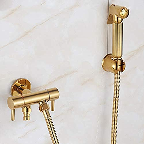 Goldene Toilette Bidet Sprayer Shattaf Massive Messing Douche Kit Hand-WC Jet Gold Bad Reiniger 2-Wege-Ventil Wasserauslauf -