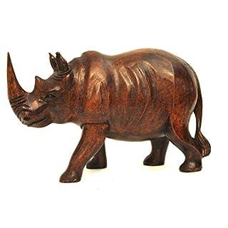 Wohnkult Nashorn 20 cm aus Suar Holz Echte Handarbeit Dekofigur Afrika Tierfigur