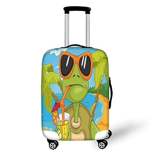 Travel Luggage Cover Suitcase Protector,Turtle,Cool Sea Turtle with Sunglasses Drinking Cocktail at The Beach Cartoon,Green Orange Light Blue,for Travel - Monogram Cocktail
