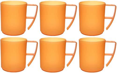 idea-station NEO Kunststoff-Tassen 6 Stück, 350 ml, orange, mehrweg, bruchsicher, Griff, Henkel, Set, Kaffee-Becher, Kaffee-Tasse, Tee-Tasse, Kinder-Tasse, Camping-Geschirr, Camping-Tasse -