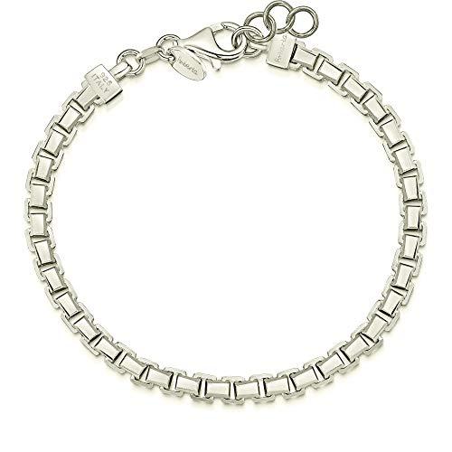 Imagen de amberta® pulsera italiana para hombres en plata de ley 925 chapado rodio  brazalete veneciano 5 mm de moda  idea regalo para aniversario, san valentin  medida 20 cm