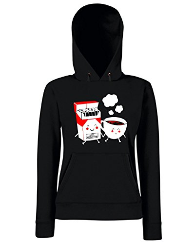 T-Shirtshock - Sweats a capuche Femme T0747 fatal attraction cigarettes and coffee fun cool geek Noir