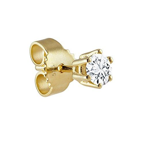 Diamond Line Herren - Ohrstecker 585er Gold 1 Diamant 0.10ct., weißgold / gelbgold