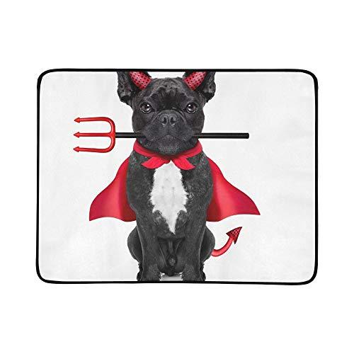 KAOROU Halloween Hexe französische Bulldogge Hund gekleidet tragbare und Faltbare Decke Matte 60x78 Zoll handliche Matte für Camping Picknick Strand Indoor Outdoor ()
