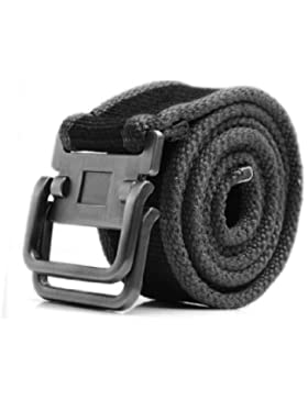 Forjado Alumium Slide Hebilla De Metal Correas De Lona Cinturón para hombre - Negro, One Size