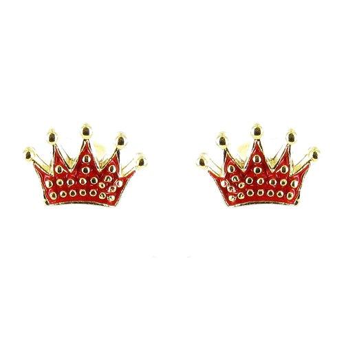 Ohrringe mit Kronen-Symbol vergoldet Rot (Regal Rote Prinzessin Kostüm)