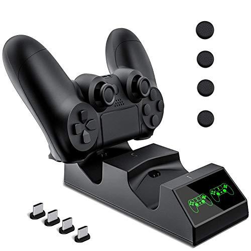 Cargador Controlador Mando PS4, KNONEW PS4 Estación de carga USB Base de Carga para Sony Playstation 4 / PS4 / PS4 Pro / PS4 mando delgado con 4 dongles de carga micro USB y 4 Grips para pulgar (precio: 13,99€)