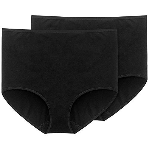 Schiesser Damen Slip Maxi (2er Pack), (schwarz 000), 40 (Herstellergröße: 040)