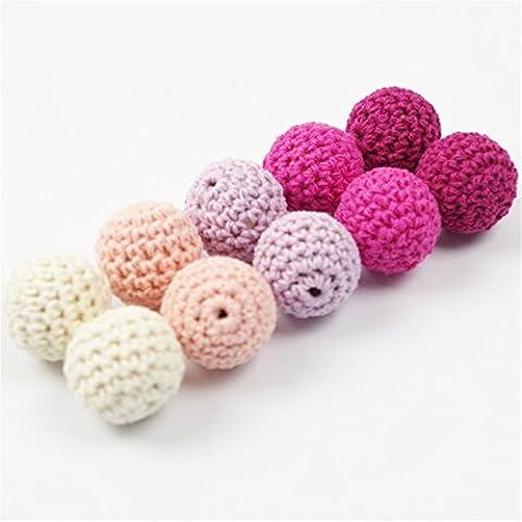 Crochet dentition perles 60 PCS 20mm série rose en bois Teether perles de coton perles rondes en rose ombres Beige Lila couleur Teether bébé jouets
