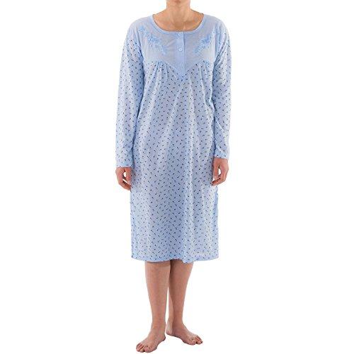 Romesa Nachthemd kurzarm Rosendruck geteilter Ausschnitt, Größe:L;Farbe:Blau