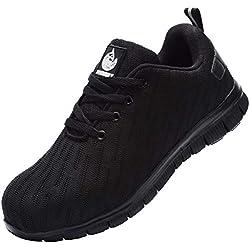 DYKHMILY Chaussures de sécurité Homme Femme D-03 Embout Acier Respirant Chaussures de Travail Anti-Perforation(Noir,40 EU)