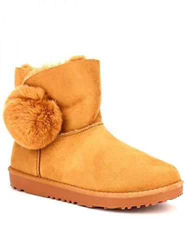 Cendriyon, Boots Camel fourrées QUENNS Chaussures Femme Caramel