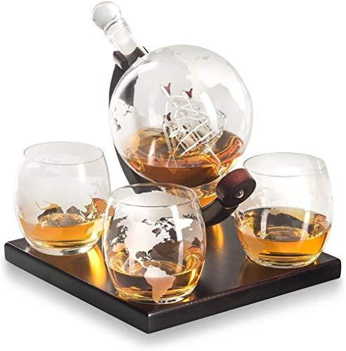 LHY Whisky Decanter Namenlos Geätzte Globe Geschenkset-Gläser & Glasgetränk Getränkespender auch für Brandy Tequila Bourbon Scotch Rum -Alkohol Verwandte Geschenke für Papa Familie