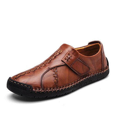 Herrenschuhe Beiläufige Schuhe der Männer im Freien übungs-Turnschuh-flache Müßiggänger-Leder (Color : Reddish brown, Size : 42)