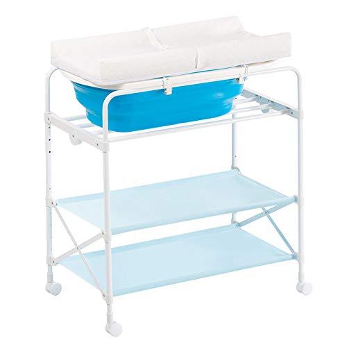 Tables à langer Table à langer portable bébé fille garçon baignoire station de massage unités de stockage, pliable portable couche de pépinière organisateur pour bébé (Couleur : Bleu)