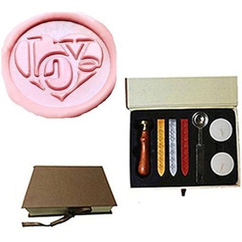 mdlg Vintage Cuore Custom Immagine Logo invito di matrimonio di ceralacca sigillo timbro set kit Box Kit