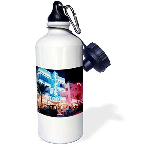 qidushop South Beach Miami Sport-Wasserflasche, Edelstahl, isolierend, für Radfahren, Camping, 535 ml