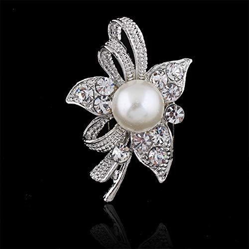 DJDG Broschen Anstecknadel Brosche Perle Mit Diamant Schal Schnalle Pin Hochzeit Braut Boutonniere