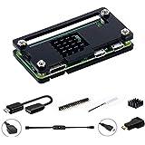 Digitalkey 7-i-1 fodral för Raspberry Pi Zero & Zero W med kylfläns + kabeluppsättning och HDMI-adapter + GPIO-huvud (svart)
