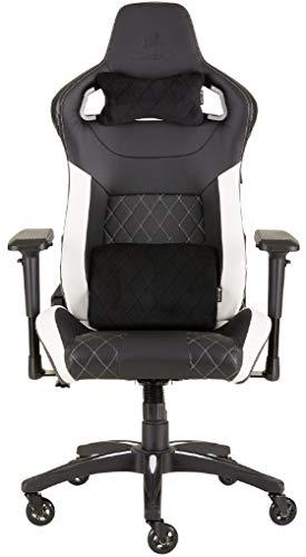 Corsair T1 Race (Kunstleder Gaming Rennsport Büro Stuhl, EinfacheMontage,Ergonomischschwenkbar,verstellbareSitzhöhe & 4D Armlehnen,Komfortable Sitzfläche mit hoher Rückenlehne) Schwarz/Weiß