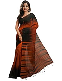 Avik Creations Women's Silk Cotton Saree With Blouse Piece (Ac-71,Orange Black,Free Size)