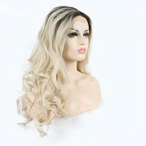 Ombre peluca rubia sirena Drag Queen sintético encaje frontal pelucas con raíces oscuras aspecto natural...