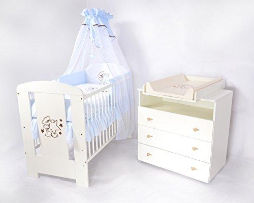 Babyzimmer sparset incl. Babybett , Wickelkommode , Ausstattung - Komplettset (hellblau)