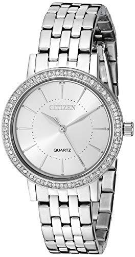 Citizen Damen Analog Quarz Uhr mit Edelstahl Armband EL3040-80A (Damen Uhr Citizen Silber)