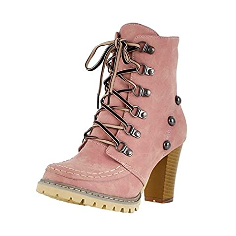 Azbro Women's Round Toe Rivet Block Heels Lace up Ankle Boots, Pink EURO38/US7/UK5 (5 Attach Fall)