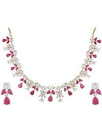 [Sponsored]Swasti Jewels American Diamond CZ Zircon Fashion Jewellery Set Necklace Earrings For Women - B07645F85W
