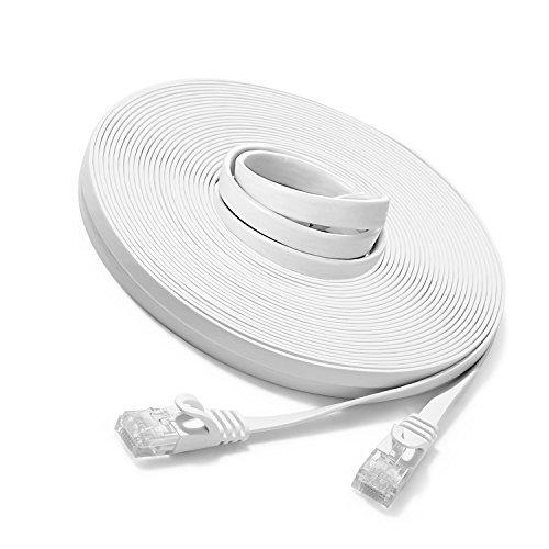15m - Flachkabel CAT6 | Weiss- 1 Stück | 10/100/1000 Mbit/s | Gigabit LAN Netzwerkkabel UBest