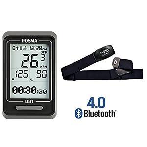 Ciclocomputador DB1 de Posma BLE4.0, velocímetro odómetro, compatible con el GPS por la integración de smartphone para iPhone y Android (Monitor para el ritmo cardíaco BHR20 y sensor de velocidad y cadencia BCB20 disponibles)., color With BHR20 Heart Rate Monitor