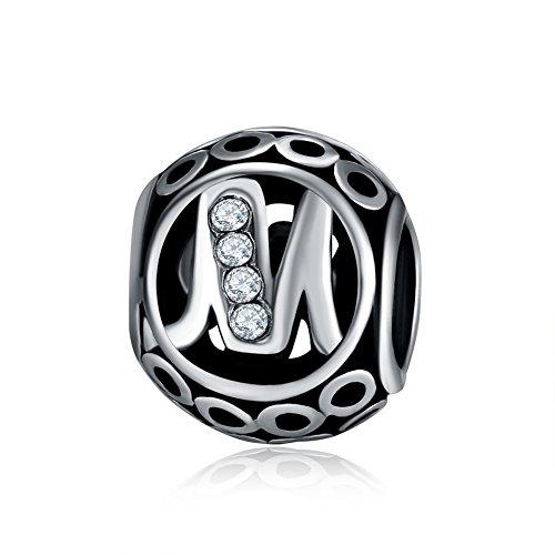 Waya plata charms alfabeto M Letra inicial colgante de cuentas para pulseras brazalete cadena de serpiente Europea joyería
