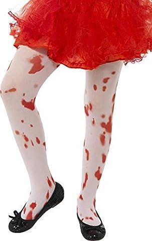 Zombie Halloween Costumes Filles - Smiffys Enfant, Collants taches de sang, Blanc,