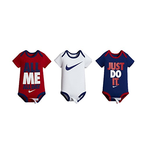 NIKE Swoosh Three-Piece Infant Baby Bodysuit Set (0-6 Months, Deep Royal Blue (0816) /Red/White/Deep Royal Blue) (Baby-snap Schulter-bodysuit)