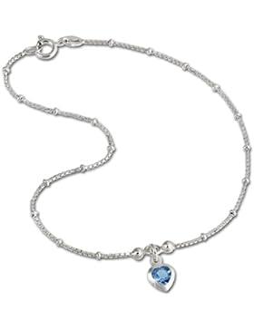 SilberDream Fußkette Herz Zirkonia hellblau 23cm 925 Sterling Silber Fußkettchen SDF2023H