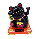 Sharplace Solar Power Maneki Neko Welcoming Lucky Cat per Arredamento Hotel Auto per Casa - Nero