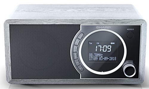 SHARP DR-450 (GR) DAB, DAB+ Digitalradio, Bluetooth, FM Radio, Alarm-/Schlaf und Snooze-Funktion, Holzoptik, Grau
