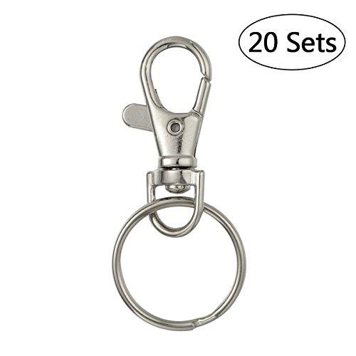 VORCOOL 20 Sätze von Swivel Karabiner Haken mit Schlüsselanhänger Schlüsselanhänger 25mm (Silber) -