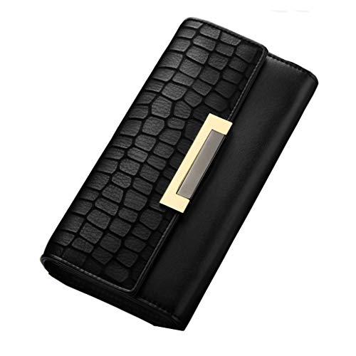 Brieftasche Lange Schwarze Brieftasche Rindsleder Damen Brieftasche dreifach Multifunktions-Multi-Card Position Tasche Wilde Brieftasche große Kapazität Multi-Card Brieftasche