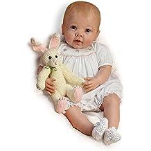 The Bradford Exchange - Abrazos de conejito - Muñeca bebé apariencia real - Con peso y flexible - Vinilo RealTouch