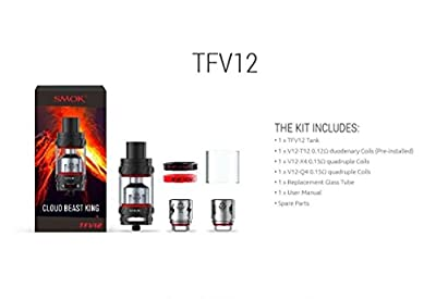 SMOK TFV12 Cloud Beast King Atomizer 6ml Tank New With Authentication Code (Silver) von SMOK