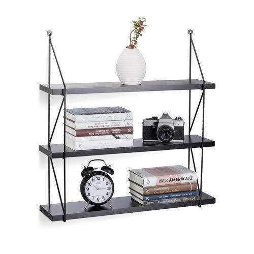 Relaxdays Hängeregal für die Wand, 3 Ebenen Wandregal für Innen, belastbare Wandablage, HBT: 62 x 60 x 16 cm, schwarz Schwarze-wand-regal