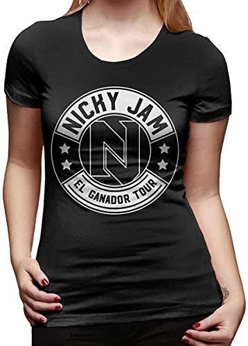Nicky Jam Camiseta Mujer Verano Manga Corta Cuello Redondo Camiseta
