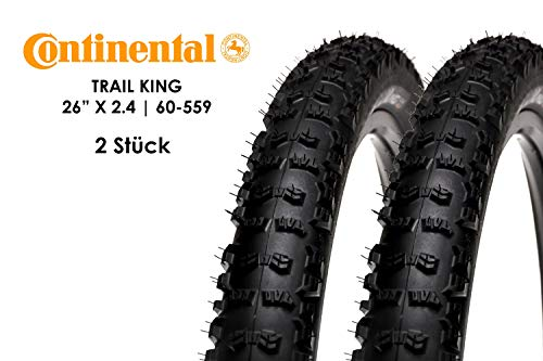2 Stück 26 Zoll Continental Trail King Fahrrad Reifen 60-559 Mantel 26x2,4 Tire schwarz (26 In Fahrrad-reifen)