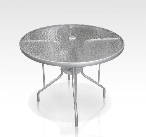 hundeinfo24.de Gartentisch Bistrotisch Glastisch Ø90cm – Silber