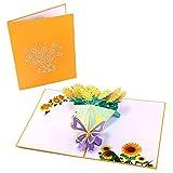 JICHUIO 3D-Pop up-Karte Sonnenblume-Blumenstrauß-Karte handgemachte Grußkarten für Valentines